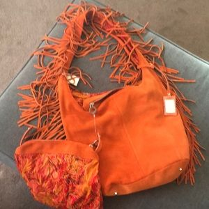 BN Le Solim Orange Fringe Shoulder Bag